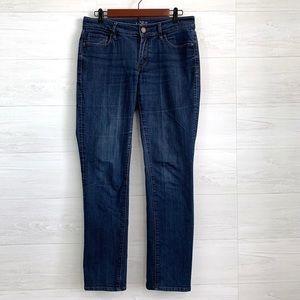 LOFT Curvy Straight Leg Dark Wash Jeans
